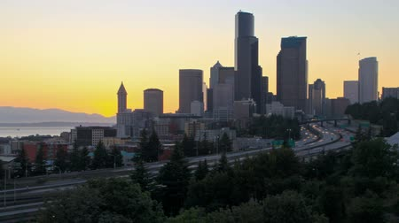 crowded : v12. Seattle cityscape time lapse right after sunset with I-5 traffic. Stock Footage