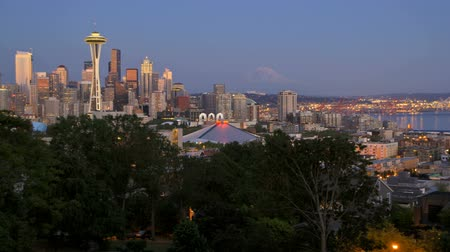 crowded : v14. Seattle cityscape time lapse after sunset. Shot from Kerry Park. Stock Footage