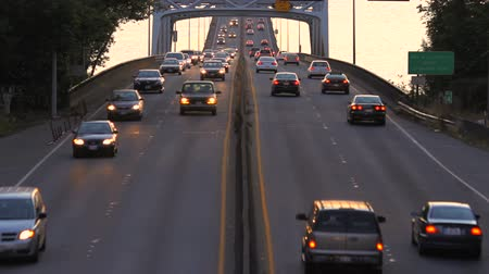 crowded : v1. Time lapse clip of Seattle freeway traffic during sunset.