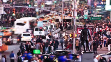 crosswalk : v12. Busy city traffic time lapse of Times Square area. Stock Footage