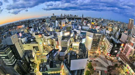 destinos : v9. Tokyo cityscape time lapse over Shibuya just after sunset. Stock Footage