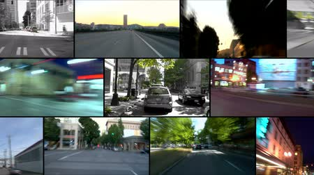 bilgi : v1. Video montage of city driving time lapse clips. Stok Video