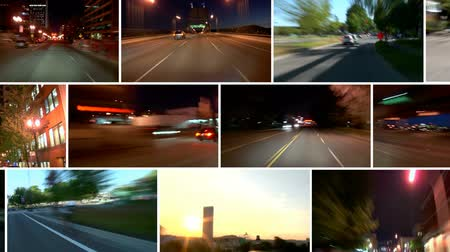istatistik : v6. Video montage of city driving time lapse clips passing by, loopable.
