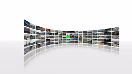 ekran : v6. Video wall of HD transportation videos. Zooming and panning into green screen for adding your own videos.