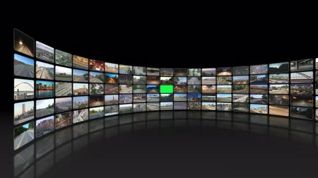 filmes : v12. Video wall of HD transportation videos. Zooming and panning into green screen for adding your own videos.