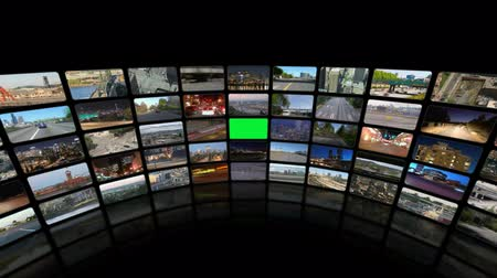 složení : v19. Video wall of HD transportation videos. Zoom into green screen center for adding your own videos.