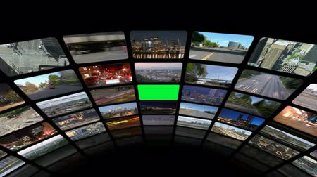 složení : v21. Video wall of HD transportation videos. Zoom into green screen center from above for adding your own videos.