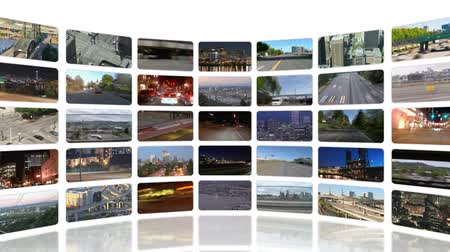 broadcast video : v31. Video wall of HD transportation videos. Zooming out to reveal full video wall.