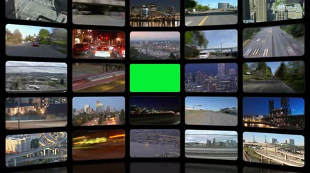 parede : v32. Video wall of HD transportation videos. Zoom into green screen center for adding your own videos.