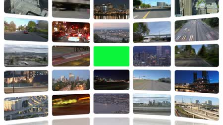 samochody : v33. Video wall of HD transportation videos. Zoom into green screen center for adding your own videos. Wideo