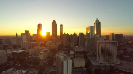 beautiful view : v24. Atlanta aerial flying into the city with cityscape sunset view. 102214