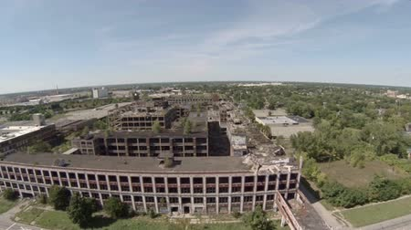 abandoned old : v11. Low flying aerial over abandoned Packard Automotive Plant in Detroit.