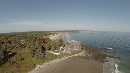 oceano : v5. Aerial flyover of coastal home in Maine.