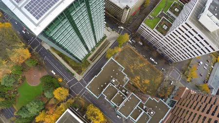 вниз : v28. Portland aerial downtown over buildings looking down.