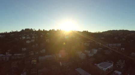 sociedade : v41. Portland aerial of hillside neighborhood during sunset. Stock Footage