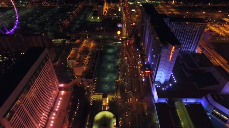światło : Las Vegas Aerial Cityscape Strip Night v18 Low flying aerial over strip. 21815