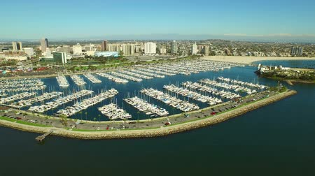 longo : Long Beach Aerial Marina v1 Low flying aerial over marina with Long Beach cityscape view.