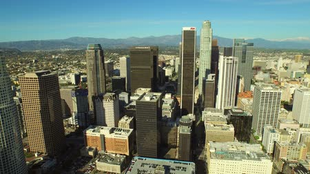 beautiful view : Los Angeles Aerial Downtown Cityscape v46 Aerial backwards and over downtown with cityscape view. 22415