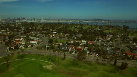bay bridge : San Diego Aerial v40 Flying low over Coronado golf course and bay. Stock Footage
