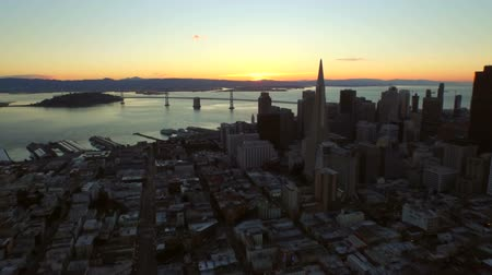 san francisco : San Francisco Aerial v17 Flying low over downtown at sunrise. Stock Footage