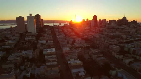 Острова : San Francisco Aerial v23 Flying low over downtown at sunrise. Стоковые видеозаписи