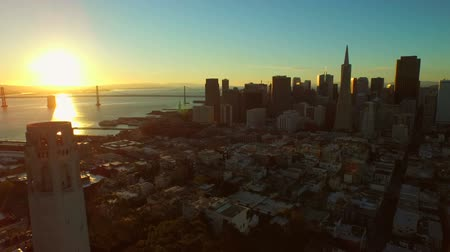 san francisco : San Francisco Aerial v26 Flying low over Telegraph Hill at sunrise. Stock Footage