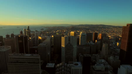 san francisco : San Francisco Aerial v27 Flying over downtown at sunrise. 3115