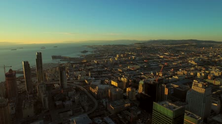 san francisco : San Francisco Aerial v28 Flying over downtown at sunrise.
