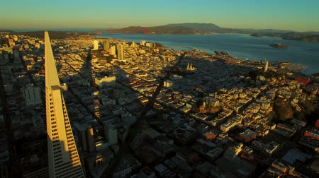 san francisco : San Francisco Aerial v30 Flying over downtown at sunrise.
