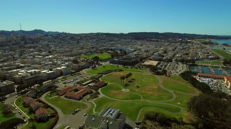 san francisco : San Francisco Aerial v45 Flying low over Fort Mason park panning left. Stock Footage