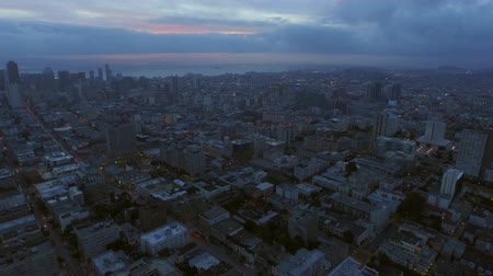 lafayette : San Francisco Aerial v63 Flying backwards over Lafayette Park with cityscape view at dawn. Stock Footage
