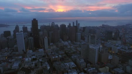san francisco : San Francisco Aerial v64 Flying low over Nob Hill and downtown at dawn.
