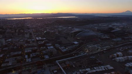 samochody : Seattle Aerial v40 Flying over shipyard panning left with industrial and cityscape views at dawn.
