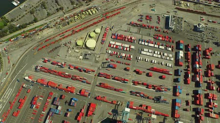 ithalat : Shipyard Aerial v13 Flying vertical shot looking down over large commercial shipyard and ships.