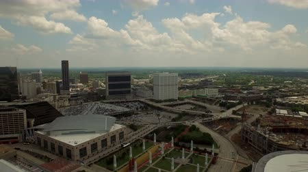 купол : Atlanta Aerial v63 Flying low besides stadium panning right with cityscape views.