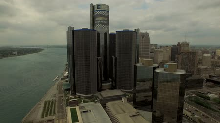 motor vehicle : Detroit Aerial v27 Flying low over downtown panning right with cityscape views.