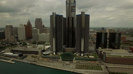motor vehicle : Detroit Aerial v30 Flying low over Detroit River panning left with cityscape views.  Stock Footage