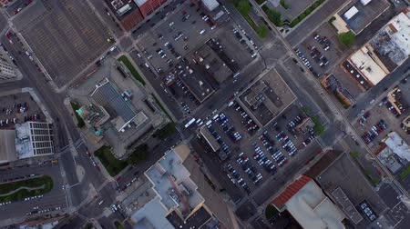mech : Detroit Aerial v46 Flying vertical shot looking down over downtown buildings. Wideo