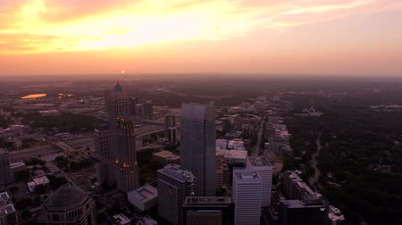 panoramic view : Atlanta Aerial v77 Flying over Midtown with sunset view. Stock Footage