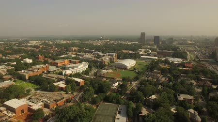 centrum : Atlanta Aerial v82 Flying low over college stadium and campus.
