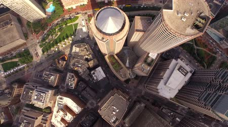 mech : Boston Aerial v42 Flying vertical shot looking down over downtown.
