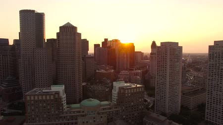 dron : Boston Aerial v54 Flying low over harbor and downtown towards sunset.
