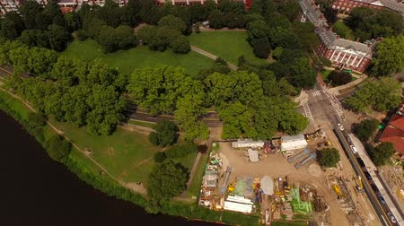 cambridge : Boston Aerial v117 Flying low looking down over Harvard campus panning up.
