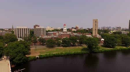 cambridge : Boston Aerial v122 Flying low over John Weeks Bridge and Harvard campus towards downtown.