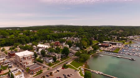 traverse : Harbor Springs Aerial v7 Flying low over downtown panning right.
