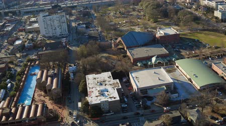 király : Atlanta Aerial v163 Flying low over MLK Center panning in Sweet Auburn neighborhood.