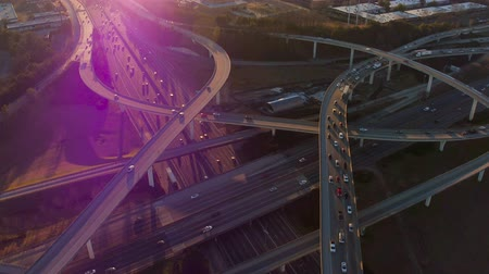 mech : Atlanta Aerial v211 Flying over Spaghetti Junction freeways panning down at sunset. Wideo