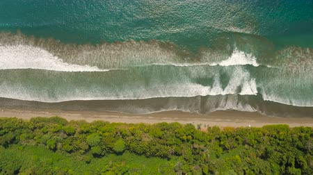 вниз : Costa Rica Aerial v1 Vertical shot looking down over jungle, beach and ocean.