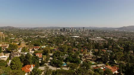 homes : Glendale Aerial v7 Flying low over luxury neighborhood in the hills panning. Stock Footage