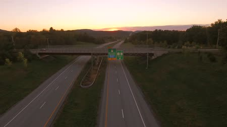 sete : US Countryside Aerial v1 Flying low over Vermont 279 towards Bennington VT at sunset. Stock Footage